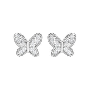 Swarovski Rhodium Plated Field Butterfly Earrings