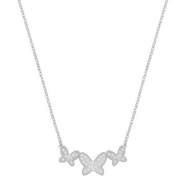 Swarovski Rhodium Plated Field Med Butterfly Necklace