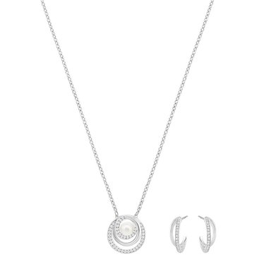 Swarovski Rhodium Plated Free Pearl Earring and Necklace Set