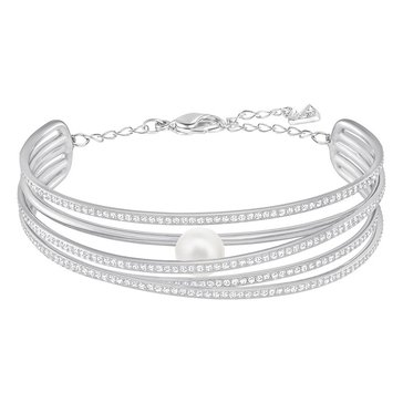 Swarovski Rhodium Plated Free Pearl Bangle