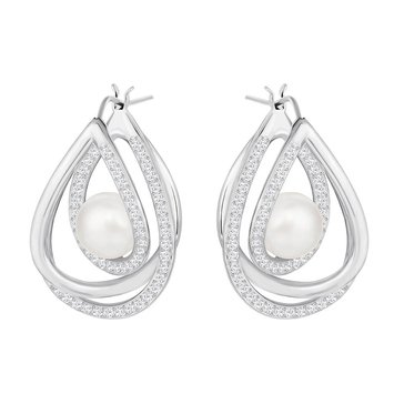 Swarovski Rhodium Plated Free Pearl Earrings