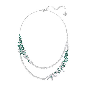Swarovski Rhodium Plated Garden Large Layered Necklace