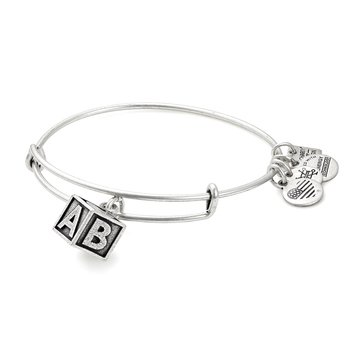 Alex and Ani Charity By Design Baby Block Expandable Bangle, Silver Finish