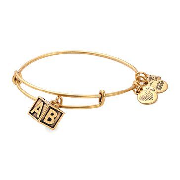 Alex and Ani Charity By Design Baby Block Expandable Bangle, Gold Finish
