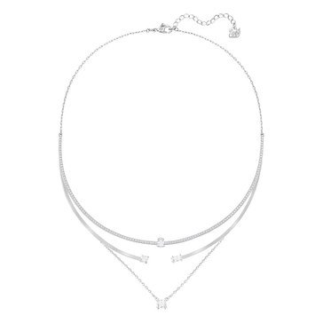 Swarovski Rhodium Plated Gray Layered Necklace