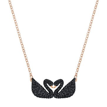 Swarovski Iconic Swan Double Necklace, Black, Rose Gold Plating