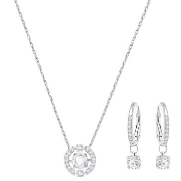 Swarovski Rhodium Plated Sparkling Round Earring and Necklace Set