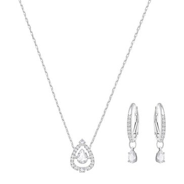 Swarovski Rhodium Plated Sparkling Pear Earring and Necklace Set