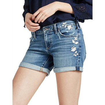 Lucky Brand Roll Up Denim Short in Blue Palms