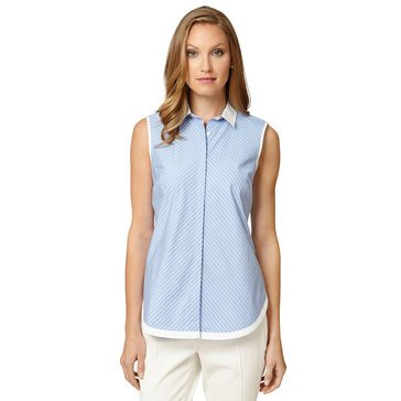 Brooks Brothers Custom Stripe Sleeveless Shirt with White Collar Hidden Placket in Chambray/ White