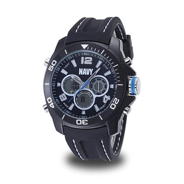 Moret Men's USN C29 Multifunction Watch, Black and White Dial & Black Rubber Strap