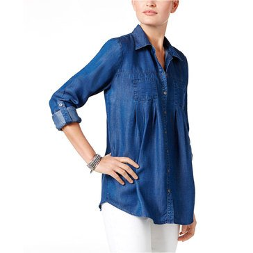 Style & Co Women's Solid 2 Pocket Denim Shirt in Medium Rinse