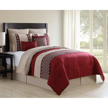 Harbor Home Gold Collection 8-Piece Comforter Set, Augustine Red - Queen