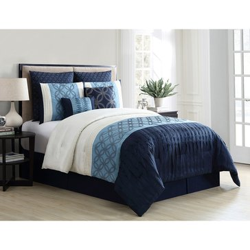 Harbor Home Gold Collection 8-Piece Comforter Set, Marlowe Blue - Queen
