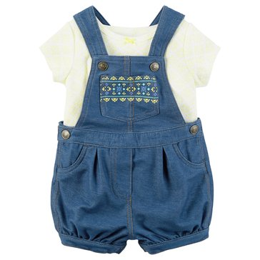 Carter's Baby Girls' 2-Piece Denim Shortalls Set