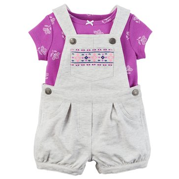 Carter's Baby Girls' 2-Piece Embroidered Shortalls Set