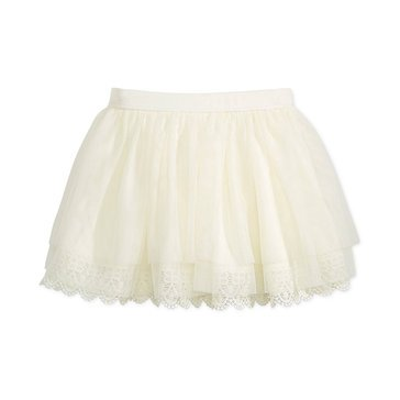 Epic Threads Little Girls' Lace Trim Skirt, Ivory