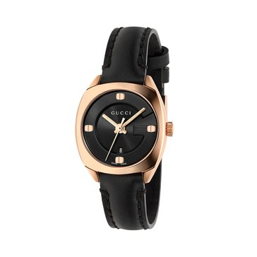 Gucci Women's Watch GG2570, Black Dial/ Black Leather 29mm