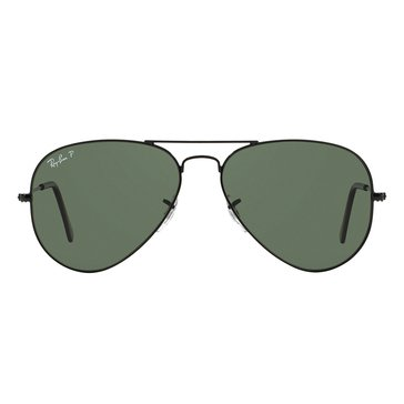Ray-Ban Unisex Aviator Classic Polarized Sunglasses RB3025, Black/ Green Classic 58mm