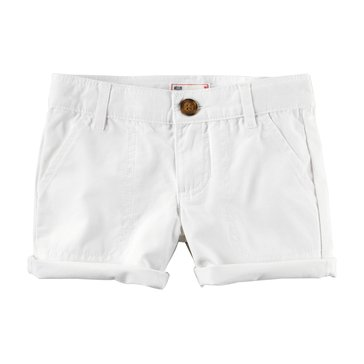 Carter's Little Girls' Twill Shorts, White