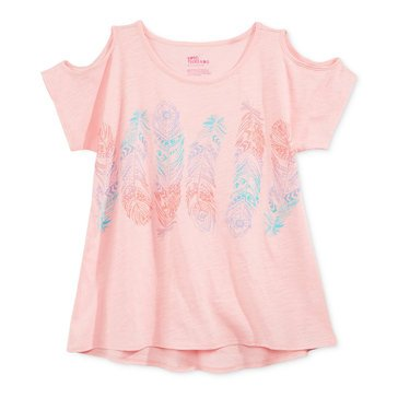 Epic Threads Big Girls' Feathers Cold Shoulder Tee, Pink