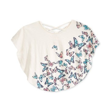 Epic Threads Big Girls' Butterfly Print Circle Tee, Ivory
