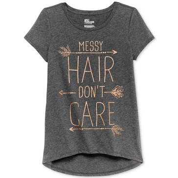Epic Threads Big Girls' Messy Hair Hilo Tee, Grey