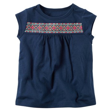 Carter's Toddler Girls' Puff Screen Top, Navy