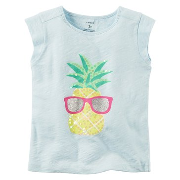 Carter's Toddler Girls' Pineapple Tee, Blue