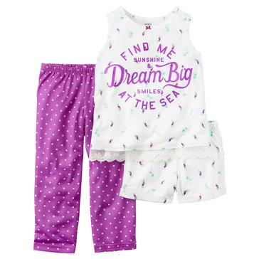 Carter's Little Girls' 3-Piece Poly Sunny Days Pajama Set