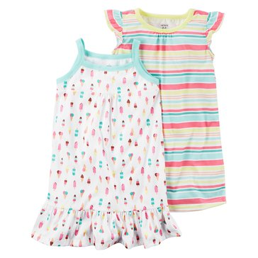 Carter's Big Girls' 2-Pack Ice Cream/Stripe Gown Set