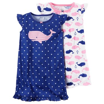 Carter's Big Girls' 2-Pack Whale Gown Set