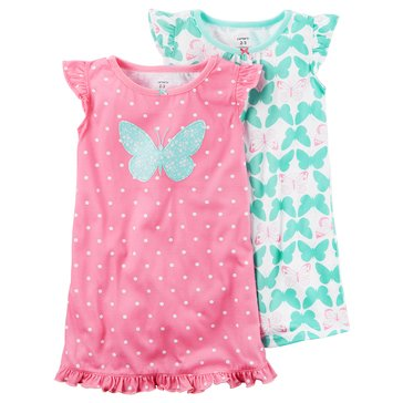 Carter's Big Girls' 2-Pack Butterfly Gown Set