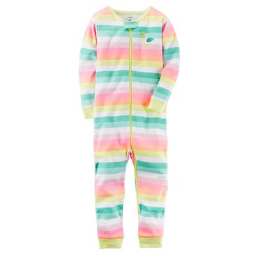 Carter's Toddler Girls' Multi Stripe Footless Pajama
