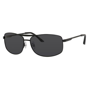 Polaroid Unisex Matte Black Metal Wrap Polarized Sunglasses 62mm