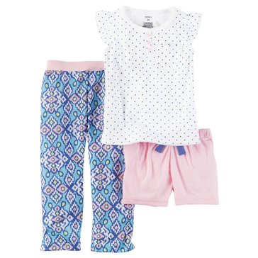 Carter's Big Girls' 3-Piece Poly Dot Print Pajama Set