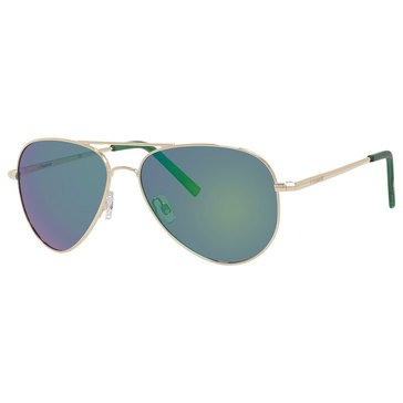 Polaroid Unisex Gold and Green Metal Aviator with Polarized Sunglasses 56mm