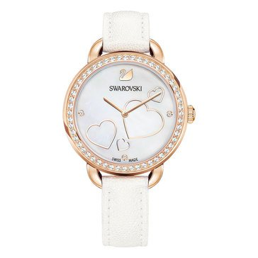 Swarovski Rose Gold Tone White Leather Mop Heart Aila Day Watch
