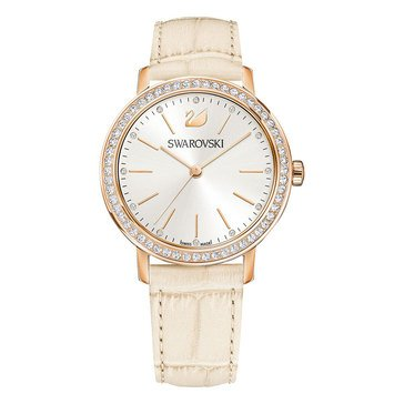 Swarovski Rose Gold Tone Ivory Leather Graceful Lady Watch