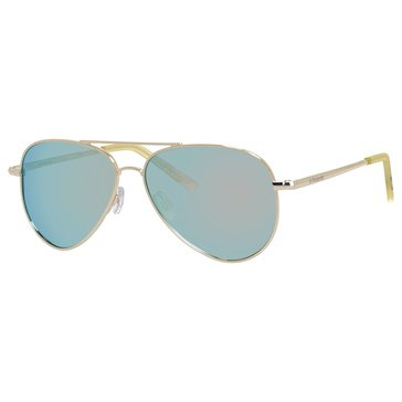 Polaroid Kids Gold and Grey Mirror Metal Aviator Polarized Sunglasses 52mm