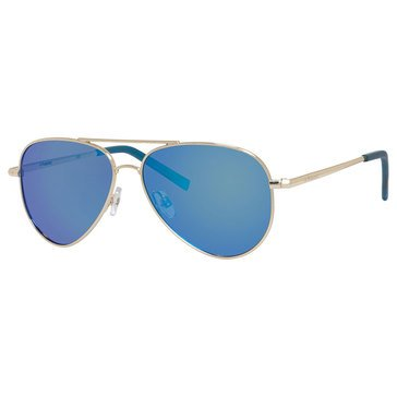 Polaroid Kids Gold and Blue Mirror Metal Aviator Polarized Sunglasses 52mm