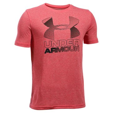 Under Armour Big Boys' Big Logo Hybrid 2.0 Tee, Red