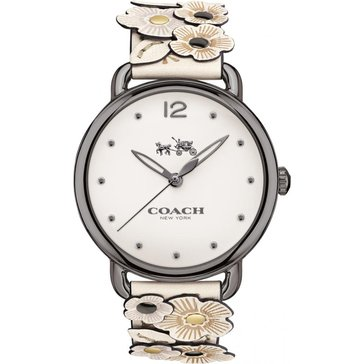 Coach Women's Delancey Stainless Steel/Chalk Leather Floral Applique Watch, 36mm