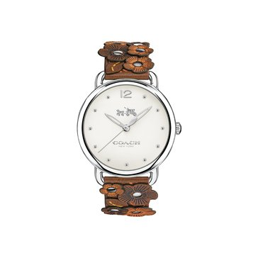 Coach Women's Delancey Stainless Steel/Saddle Leather Floral Applique Watch, 36mm
