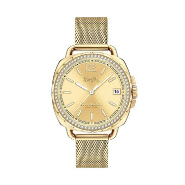 Coach Women's Tatum Crystal Bezel/Gold Plated Mesh Watch, 38mm