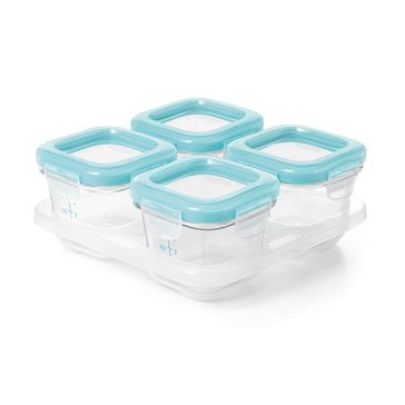 OXO TOT Glass Baby Blocks Freezer Storage Container Set, Aqua