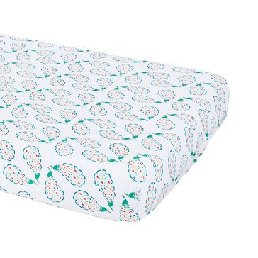 BeBe Au Lait Muslin Crib Sheet, Peacocks