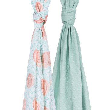 BeBe Au Lait Luxury Muslin Swaddles Set, Fresco/Lagoon