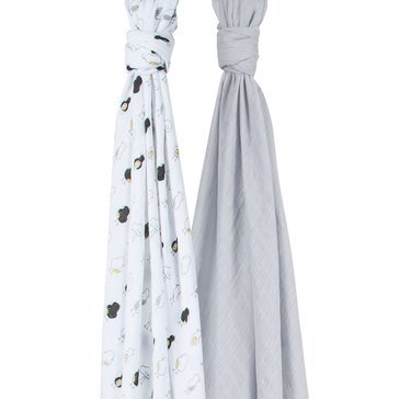 BeBe Au Lait Luxury Muslin Swaddles Set, Pipit/Pebble