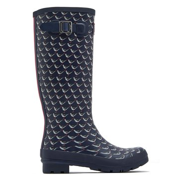 Joules Wellyprint Women's Rainboot French Navy Oyster Catcher